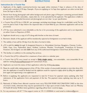 instructions for e-Tourist Visa